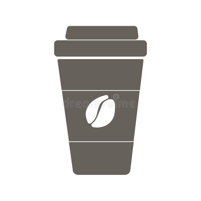 Koffie om te gaan Vlak pictogram royalty-vrije stock afbeeldingen