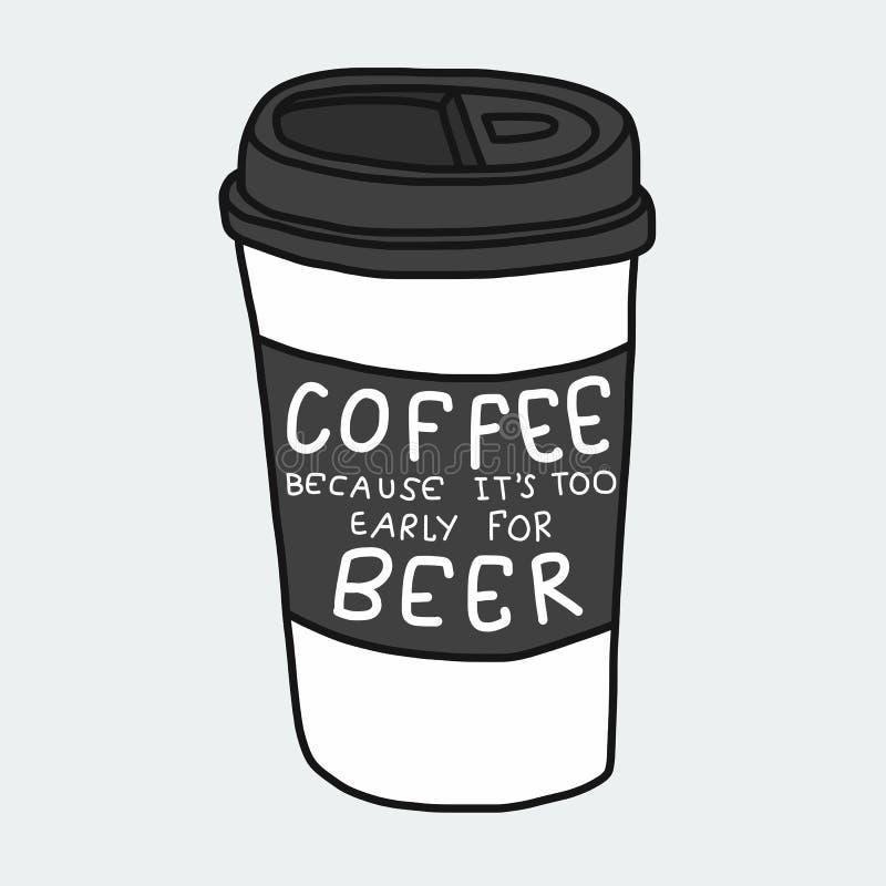 Koffie omdat het te vroeg voor bierwoord is en de illustratie van het kopbeeldverhaal weghaalt royalty-vrije illustratie
