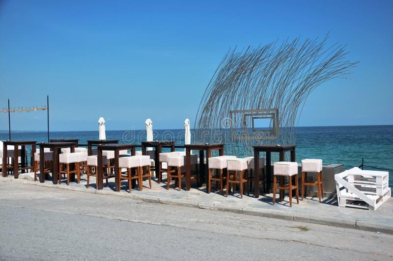 Koffie op de het strand en het duiken club stock afbeeldingen