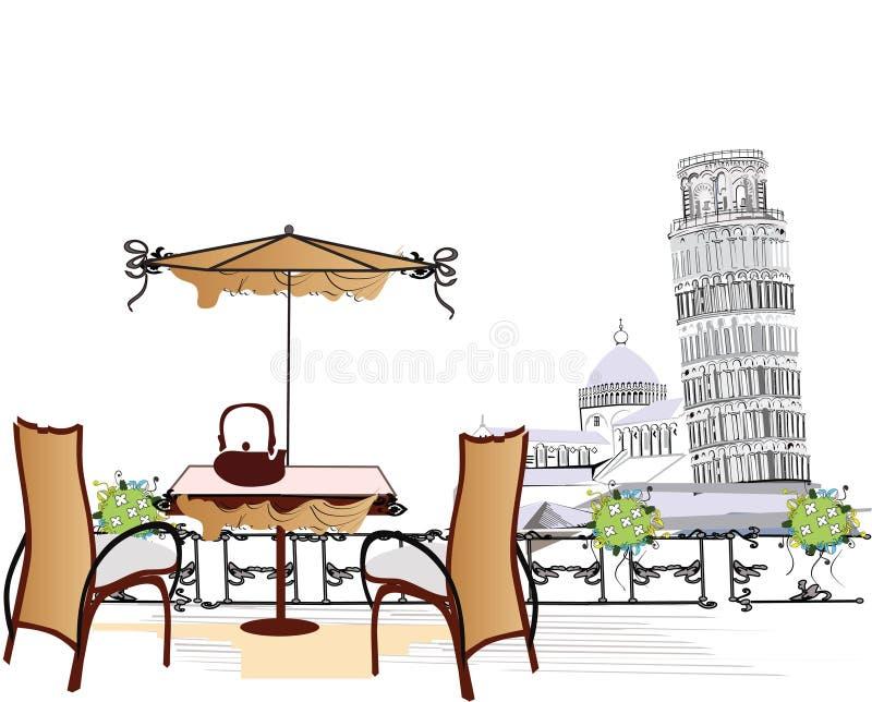 Koffie in Pizza royalty-vrije illustratie