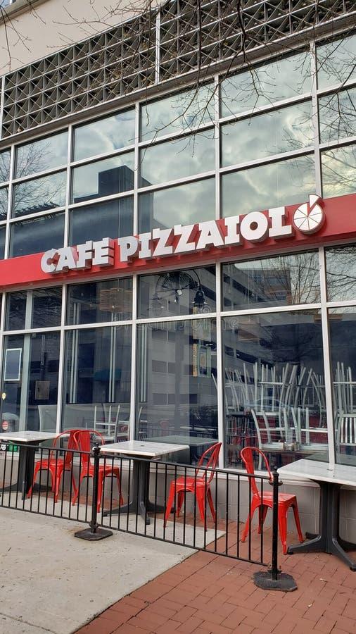 Koffie Pizzaiolo Shirlington VA 4/2/2019 - Italiaans restaurant stock fotografie