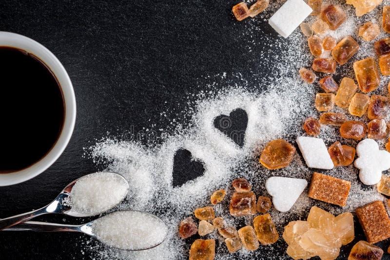 Koffie, suiker, karamel stock afbeeldingen