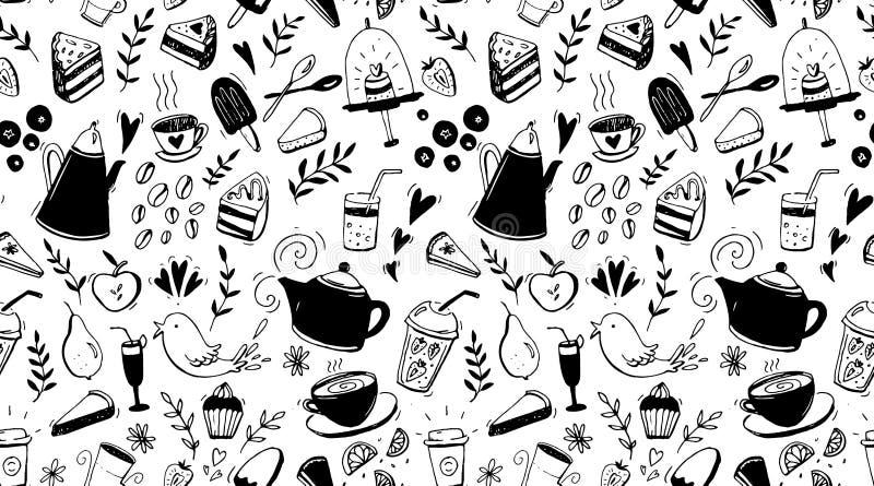 Koffie, thee en desserts naadloos patroon Zwart-witte achtergrond met voedsel voor koffieontwerp vector illustratie