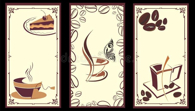 Koffie, theebanners met vlinder vector illustratie