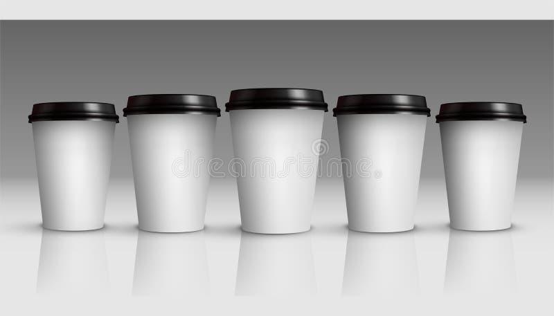 Koffie of theekoppenspot omhoog Reeks vector witte die koffiekoppen op grijze achtergrond wordt geïsoleerd vector illustratie