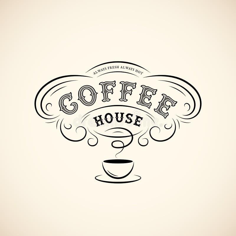 Koffie uitstekend etiket royalty-vrije illustratie