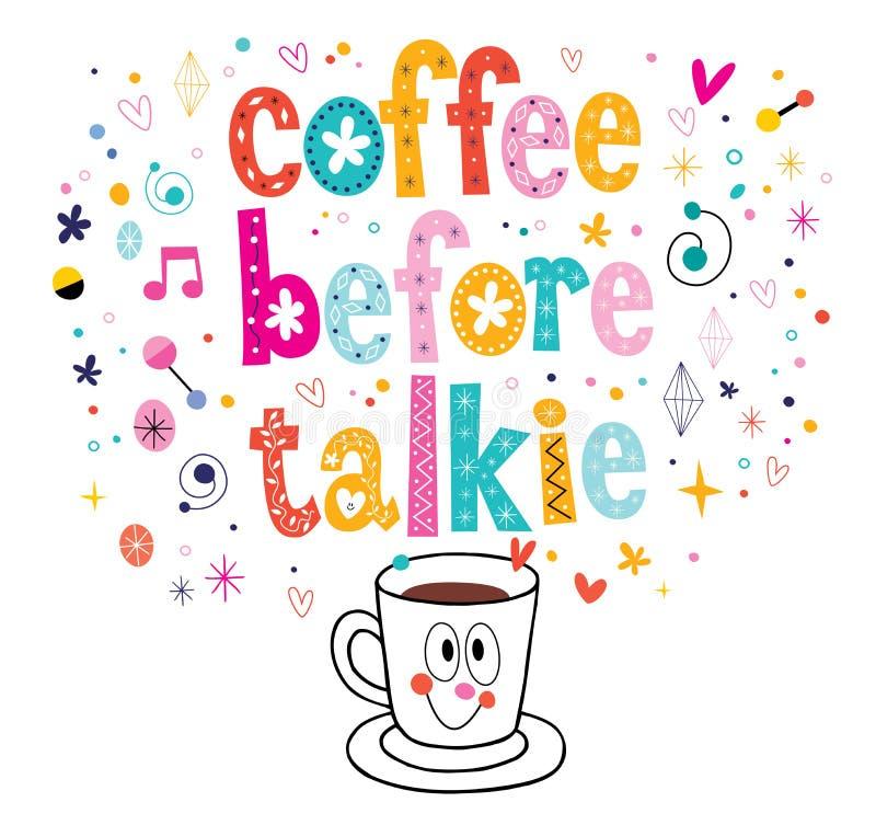 Koffie vóór talkie royalty-vrije illustratie