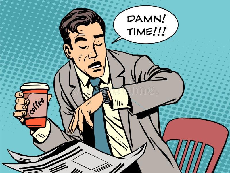 Koffie van de koffiepauze de recente zakenman royalty-vrije illustratie