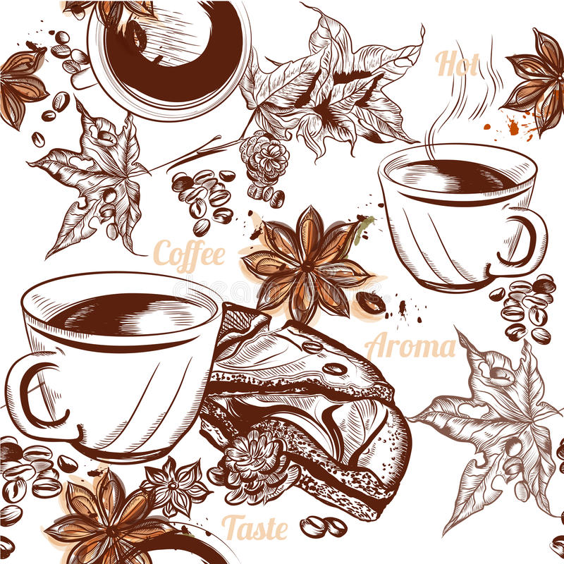 Koffie vector naadloze achtergrond met gegraveerde koffiekoppen, gra royalty-vrije illustratie