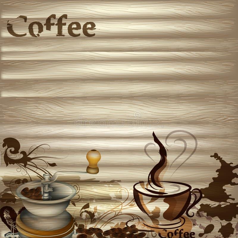 Koffie vectorachtergrond met houten textuur stock illustratie