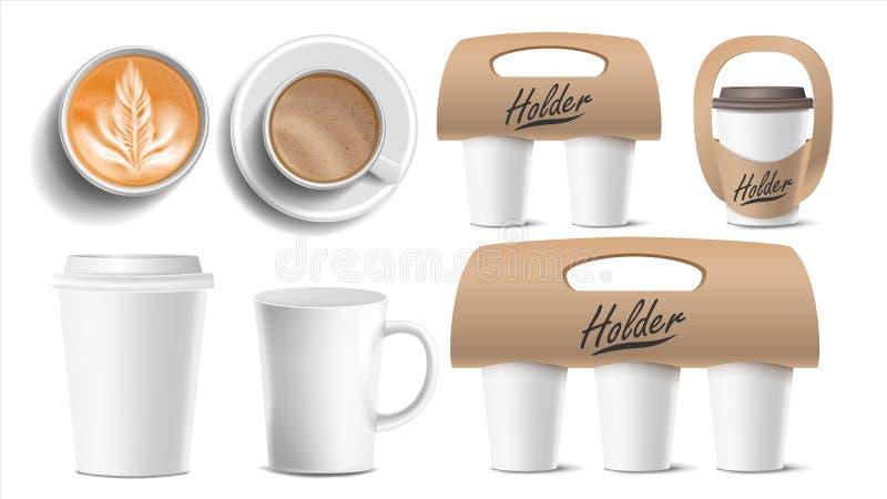 Koffie Verpakkingsvector De koppen bespotten omhoog Ceramisch en Document, Plastic Kop Hoogste, zijaanzicht Koppenhouder voor het royalty-vrije illustratie