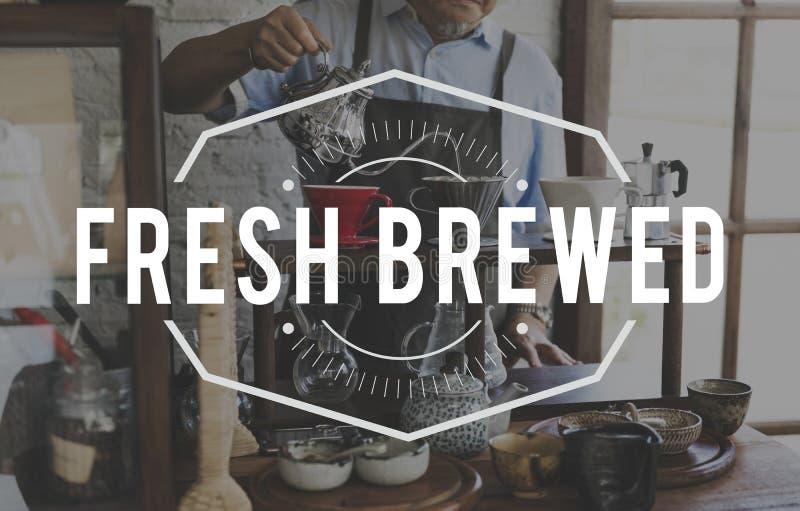 Koffie Verse Gebrouwen Word Grafische Zegelbanner royalty-vrije stock foto