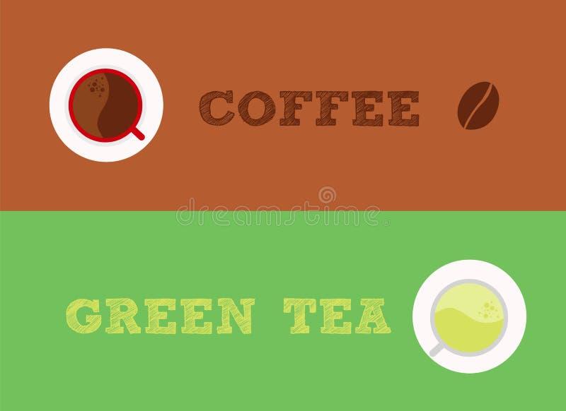 Koffie versus groene thee stock illustratie