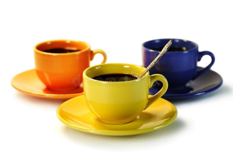 Koffie voor drie mensen. royalty-vrije stock fotografie