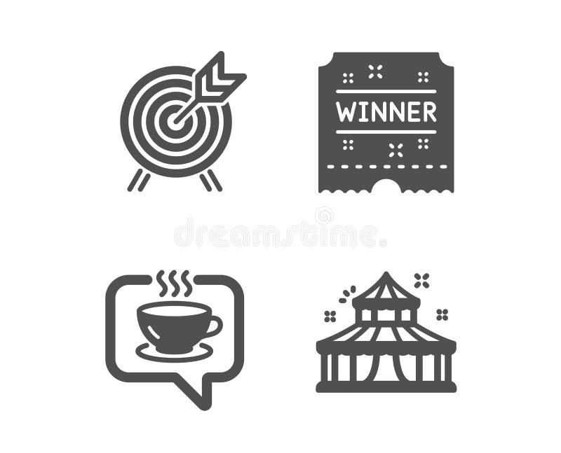 Koffie, Winnaarkaartje en Boogschietenpictogrammen Circusteken Koffie, Carrouselstoekenning, Aantrekkelijkheidspark Vector stock illustratie