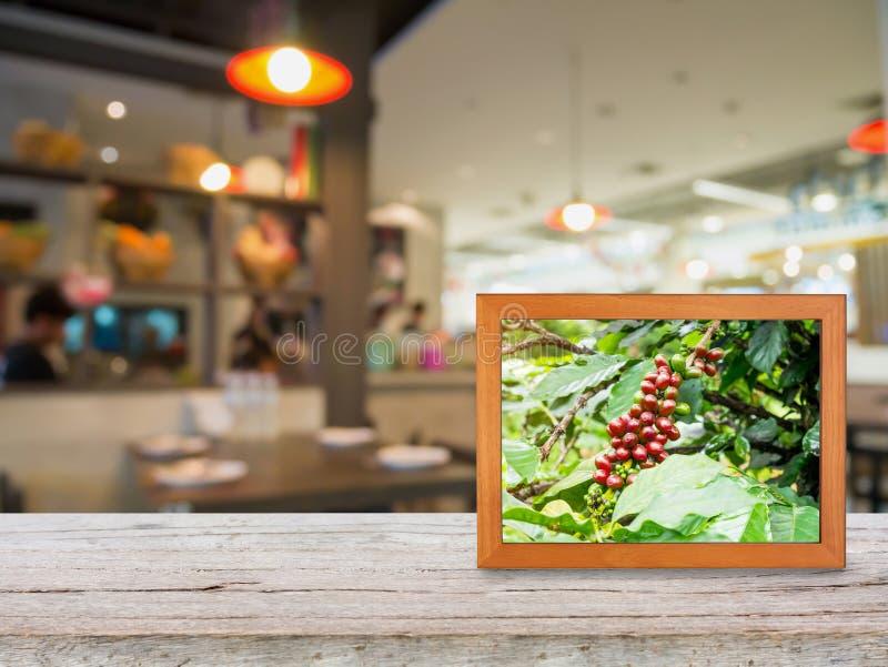 Koffieaanplanting in fotokader op houten teller stock afbeelding