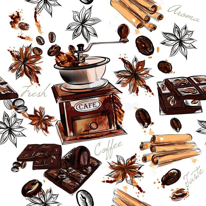 Koffieachtergrond met de koffiemolen gebraden boon van waterverfvlekken royalty-vrije illustratie