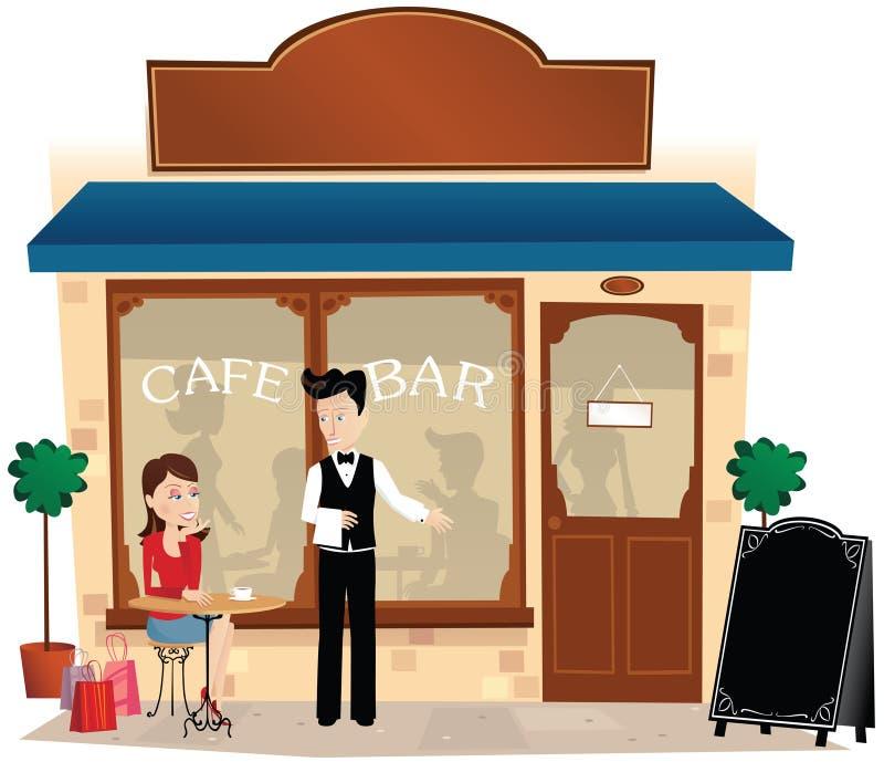 Koffiebar en stoep stock illustratie