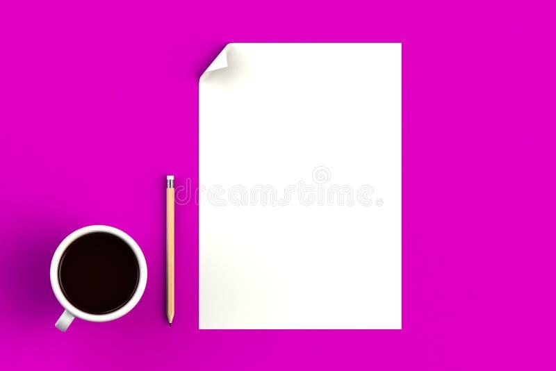 Koffiebeker met leeg papier op roze achtergrond, bovenaanzicht met copyspace voor uw tekst stock illustratie