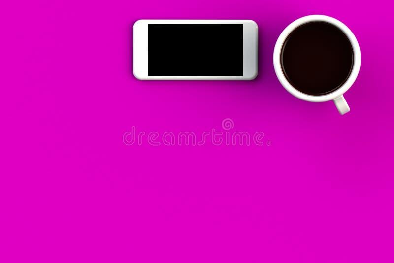 Koffiebeker met smartphone op roze achtergrond, bovenaanzicht met copyspace voor uw tekst vector illustratie