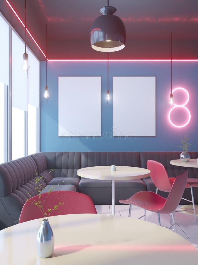 Koffiebinnenland met een grote bank, een rij van lijsten met stoelen het 3d teruggeven Illustratiespot omhoog vector illustratie