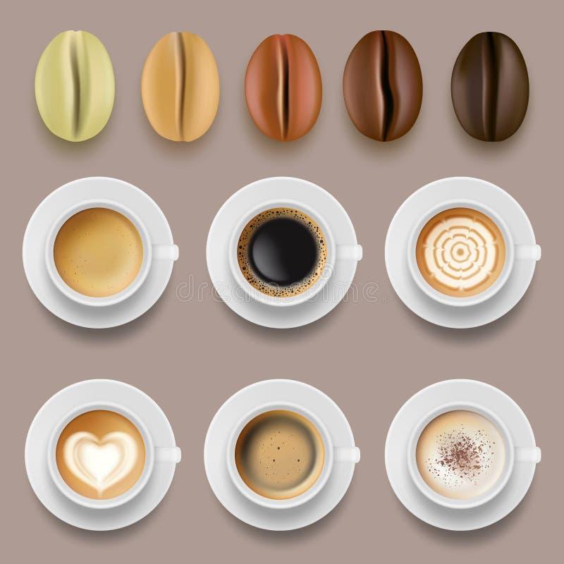 Koffiebonen en koppen De hete drankenarabica landbouw vectorinzameling van het koffiebraadstuk vector illustratie