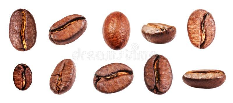 Koffiebonen geplaatst die op witte achtergrond, close-up, macro worden geïsoleerd stock foto's