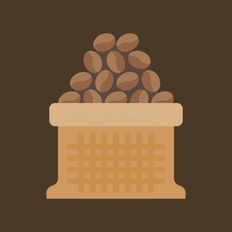 Koffiebonen in zakzak stock illustratie