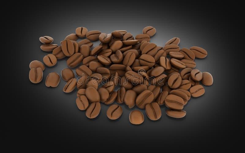 Koffiebonen zonder schaduw op zwarte 3d achtergrond royalty-vrije illustratie