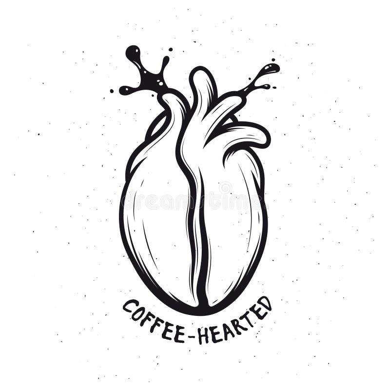 Koffieboon van menselijk hart wordt gemaakt dat Creatieve zwart-wit affiche Koffie-hearted royalty-vrije illustratie