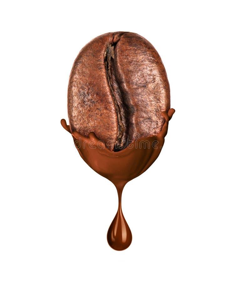 Koffieboon in vloeibare hete die chocolade op witte achtergrond wordt geïsoleerd royalty-vrije stock foto's