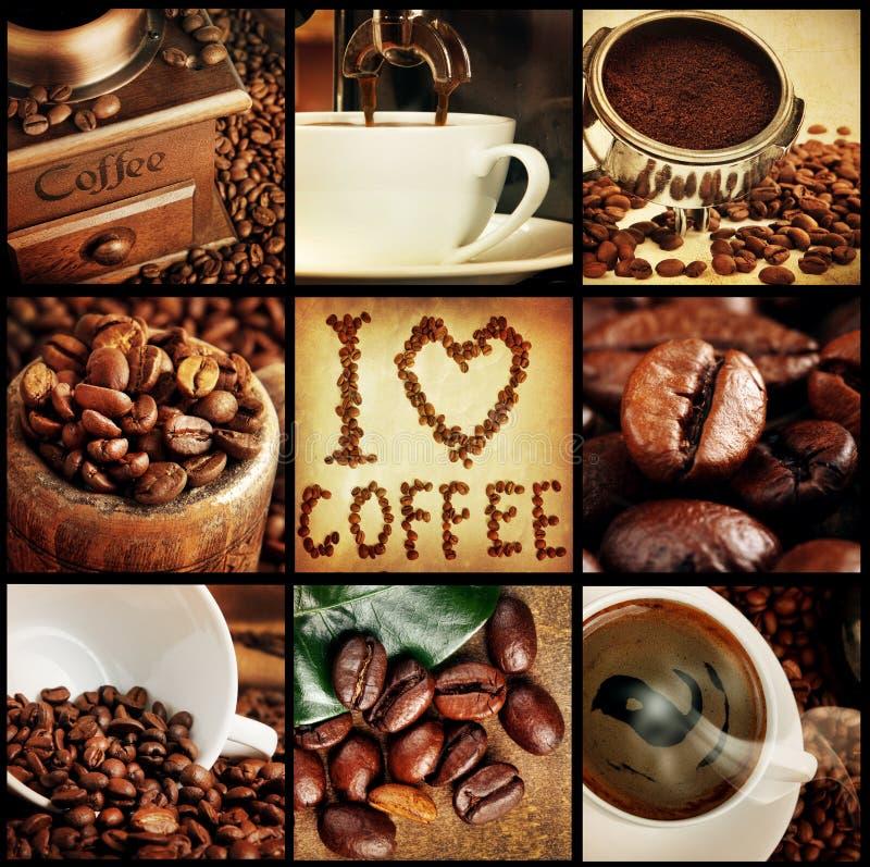 Koffiecollage royalty-vrije stock afbeeldingen