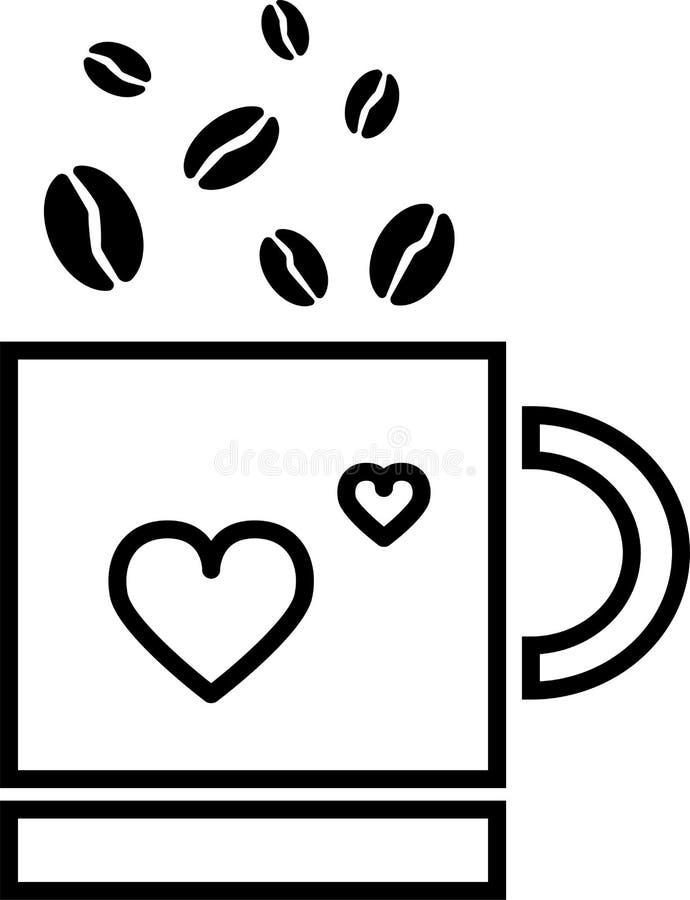 Koffiedalingen in een mok met een hart royalty-vrije illustratie