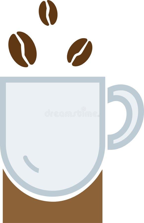 Koffiedalingen in een multi-colored ronde kop stock illustratie