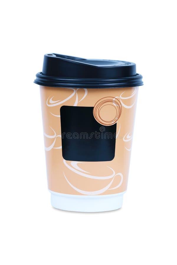 Koffiedocument kop met dekking op wit royalty-vrije stock afbeelding