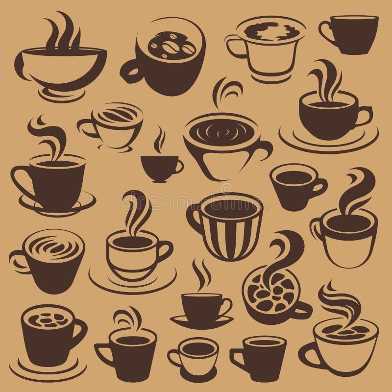 Koffieelementen of emblemen royalty-vrije illustratie