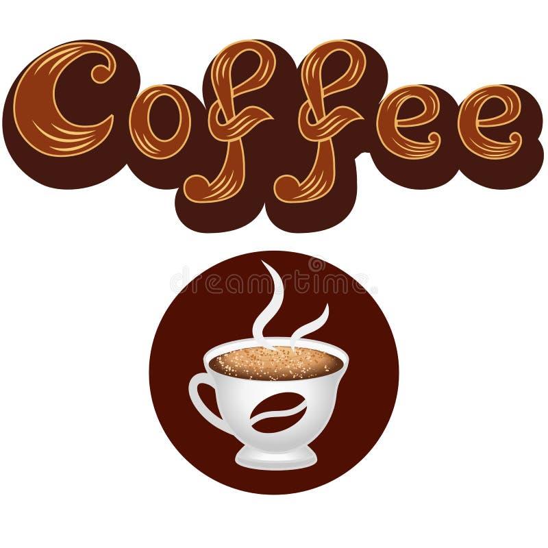 Koffieembleem, het van letters voorzien en het pictogram van de koffiekop vector illustratie