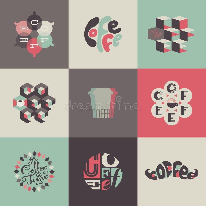 Koffieemblemen en etiketten. Reeks affiches, ontwerp  royalty-vrije illustratie