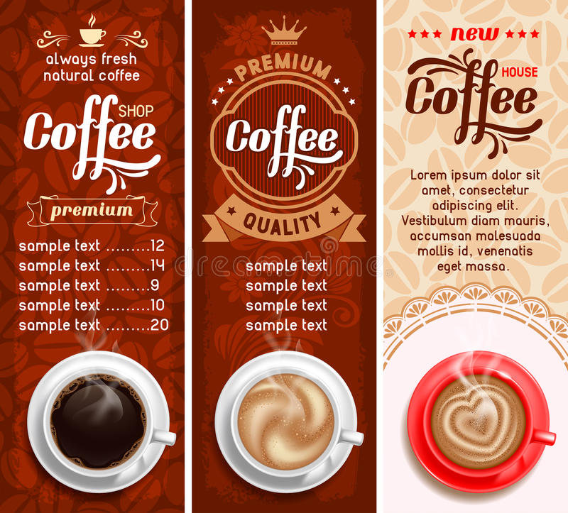 Koffieetiketten royalty-vrije illustratie