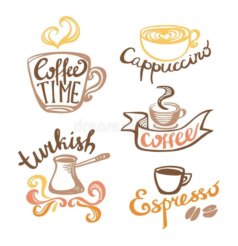 Koffiehand getrokken Etiketten royalty-vrije illustratie