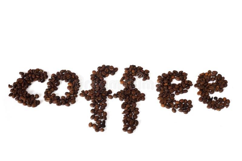 Koffieinschrijving met koffiebonen die wordt gemaakt royalty-vrije stock foto