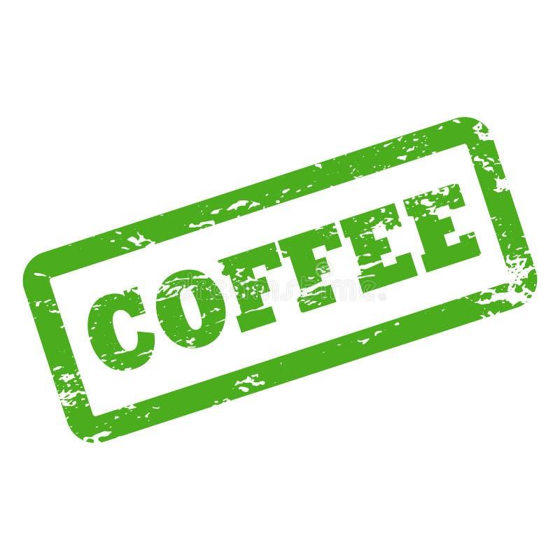 Koffieinschrijving in rechthoekkader Rubberzegel met verouderde textuur vector illustratie