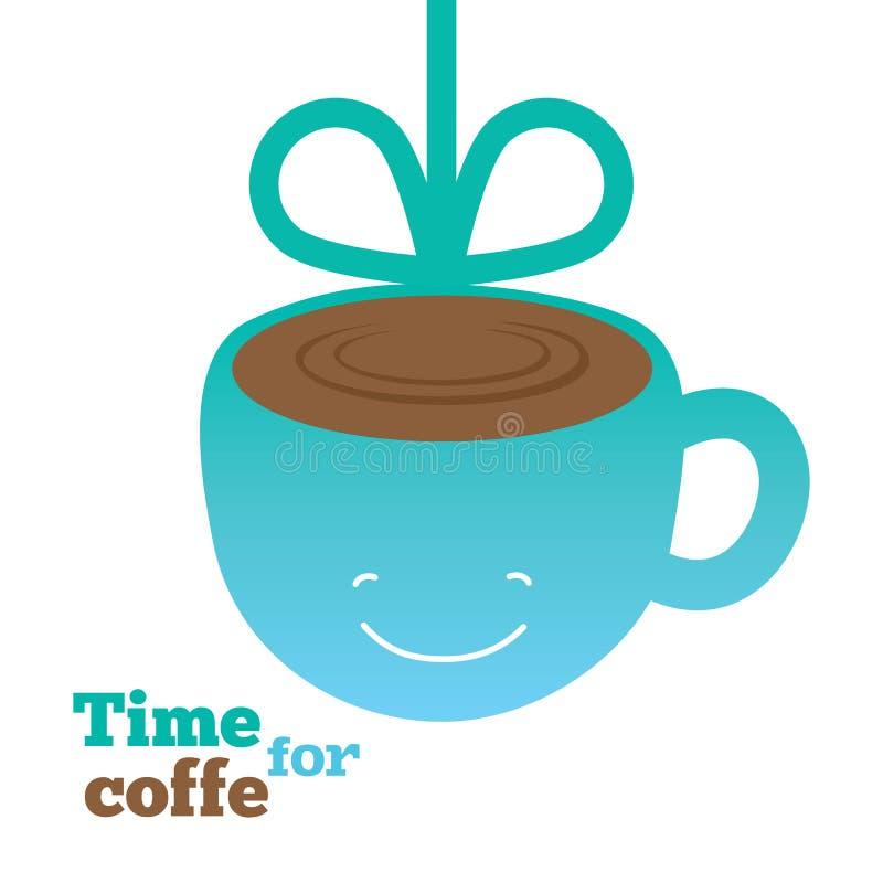 Koffiekaart met het glimlachen van kop van koffie stock illustratie
