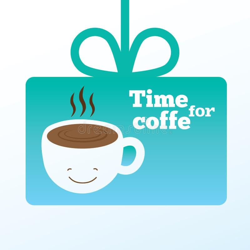 Koffiekaart met het glimlachen van kop van koffie royalty-vrije illustratie