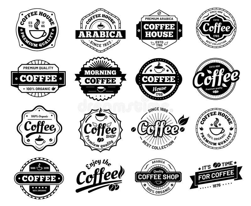 Koffiekentekens De zegelsticker van het koffieembleem Restaurant logotype Uitstekende logotypevector geïsoleerde illustratie stock illustratie
