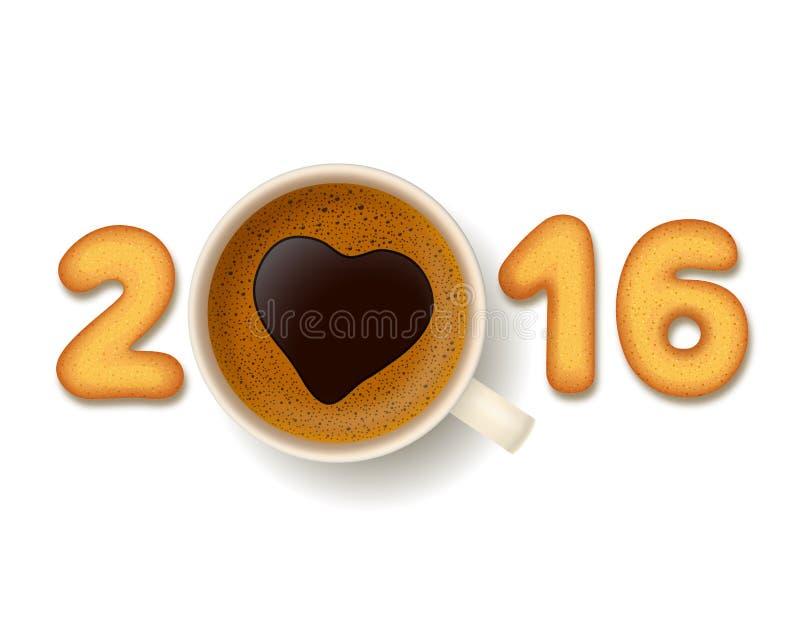 Koffiekop en koekjes voor Nieuwjaar 2016 stock illustratie
