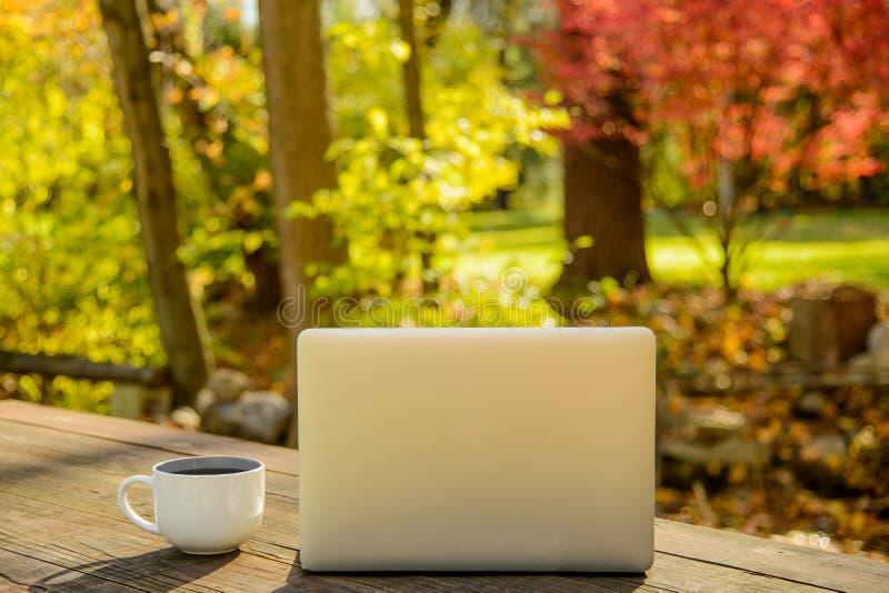 Koffiekop en Zilveren Laptop op Picknicklijst in openlucht stock afbeelding