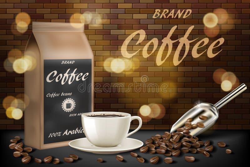 Koffiekop met bonenadvertenties 3d illustratie van hete arabica koffiemok Productdocument het ontwerp van het zakpakket met bakst stock illustratie