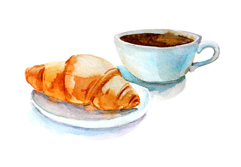 Koffiekop met croissant, waterverfillustratie, op witte achtergrond wordt geïsoleerd die stock afbeelding