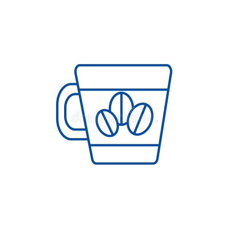 Koffiekop met het pictogramconcept van de bonenlijn Koffiekop met bonen vlak vectorsymbool, teken, overzichtsillustratie royalty-vrije illustratie